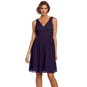 DONNA MORGAN Jessi Short Purple Chiffon Dress